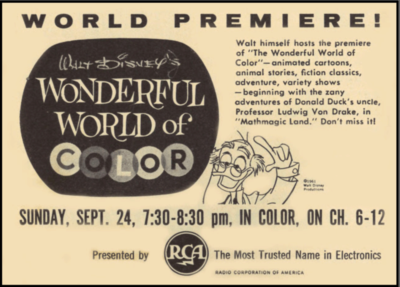Walt Disney Wonderful World Of Color Ad