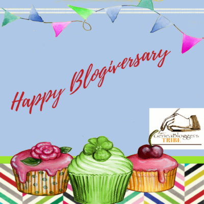 Happy Blogiversary graphic with 3 cupcakes