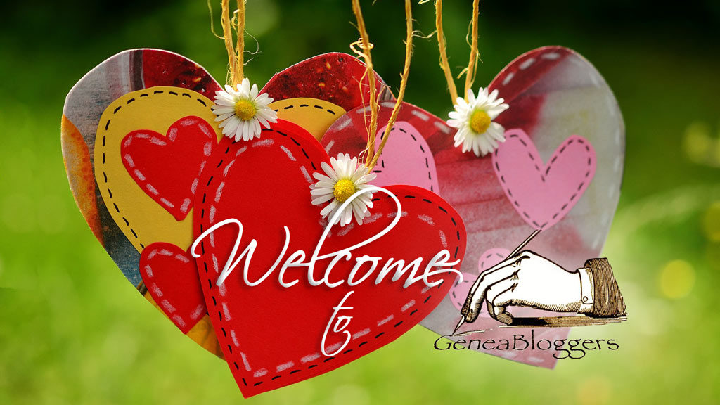 Welcome to geneabloggers graphic with three hearts