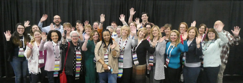 A photo of some of our members of GeneaBloggers at Rootstech 2019