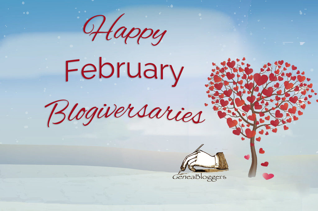 Happy February Blogiversaries 2020 Version Graphic with tree of hearts