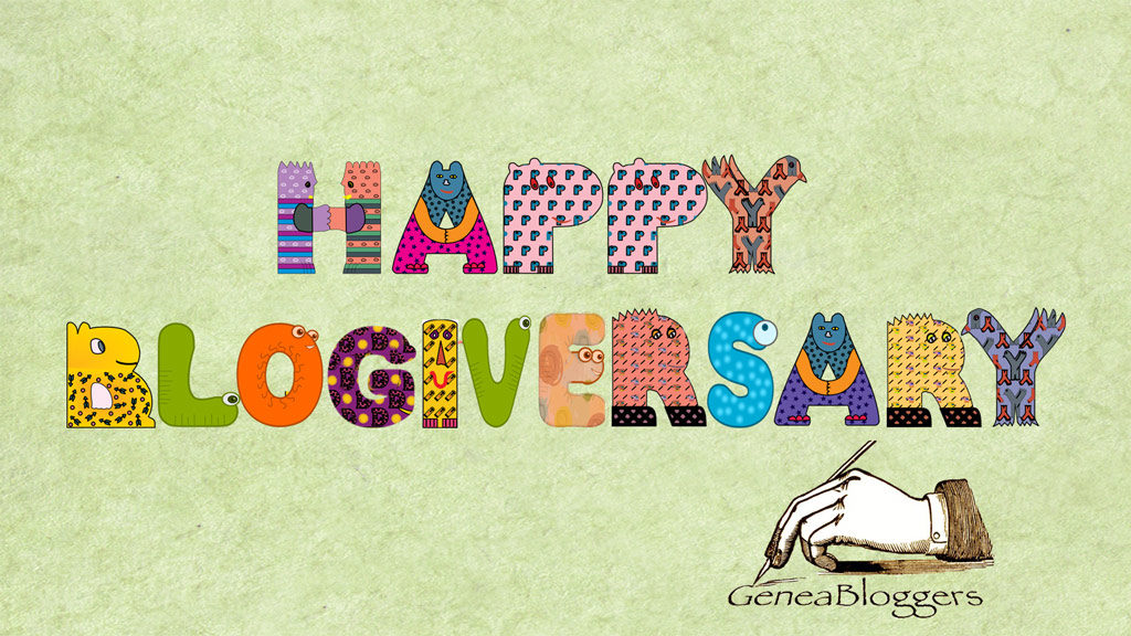 Happy Blogiversary spelled out with animal lettering