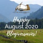 Happy AUgust 2020 Blogiversaries graphic haystacks in field