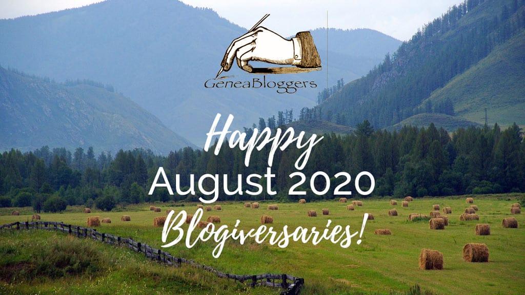 Happy AUgust 2020 Blogiversaries graphic haystacks in field