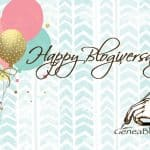 Blogiversary graphic with balloons and Geneabloggers logo