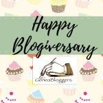 Happy Blogiversary Graphic with cupcakes and the GeneaBloggers logo