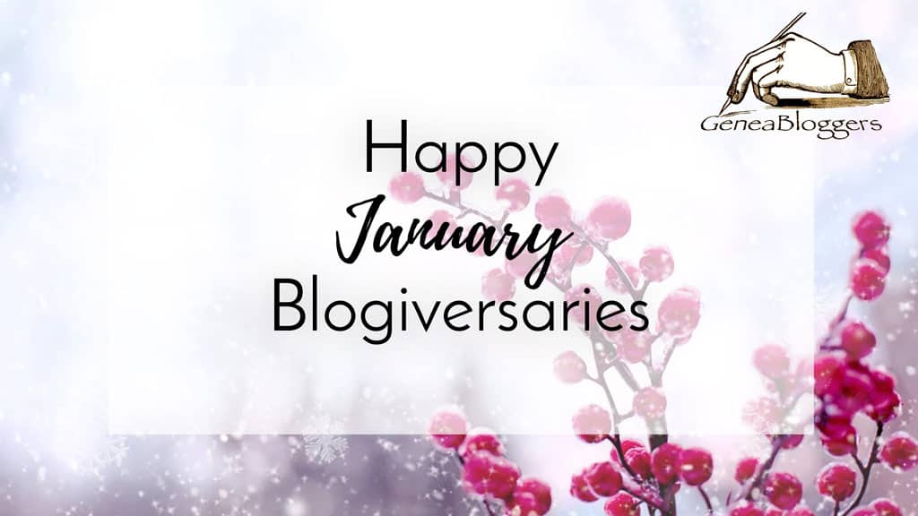 Happy January Blogiversary graphic with winter berries