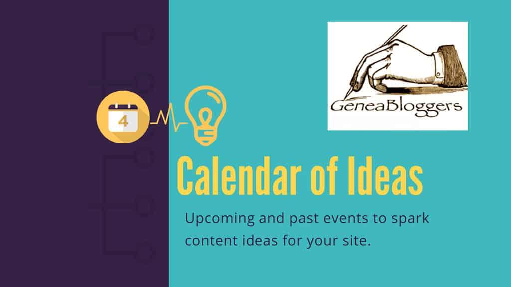 GeneaBloggers Calendar of Ideas Hero Image